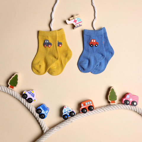 Hasta La Vista Blue & Yellow Socks - 2 pack (0-12 Months)