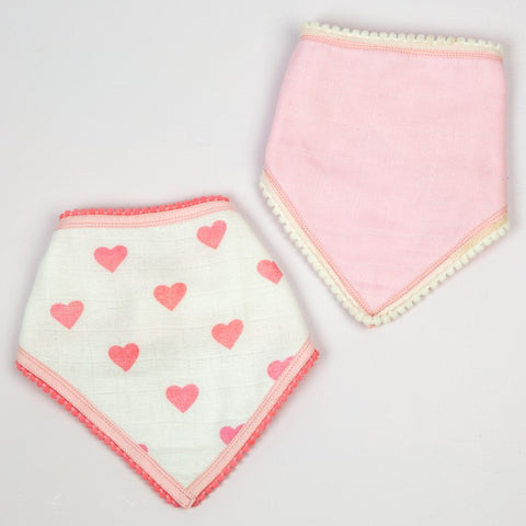 Hearts Bandana Bibs, Set of 2