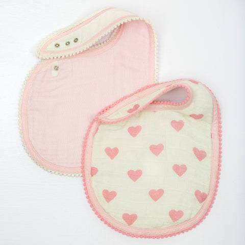Hearts Muslin Bibs, Set of 2