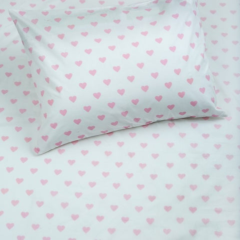 Bedsheet Set - Hearts - Single/Double Bed Sizes Available