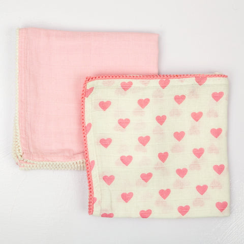 Hearts Muslin Swaddle Cloths, Set of 2
