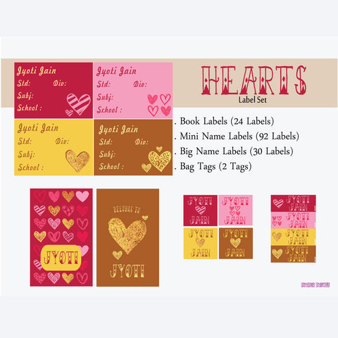 "Label Set <br/>Heart Theme<br><span style=""font-size: 11px; font-family:Helvetica,Arial,sans-serif;"">Assorted pack containing 146 labels and 2 bag tags </span>"