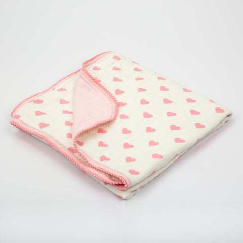 Hearts Muslin Cozy Blanket
