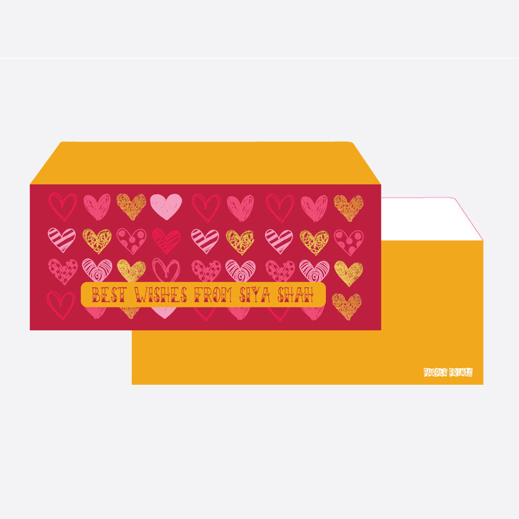 Personalised Envelopes - Hearts, Set of 24