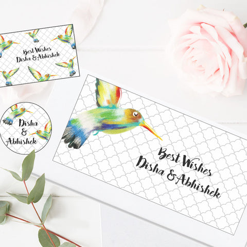 Personalised Gift Envelopes, Cards & Stickers Combo - Hummingbird, Set of 130