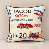 'Welcome Baby' Personalised Pillow - Off we Go!