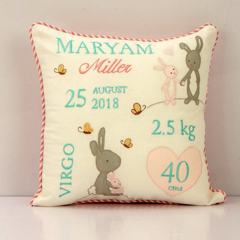'Welcome Baby' Personalised Pillow - Snuggle Bunny