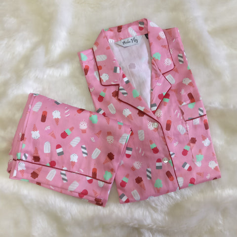 Adult Pyjama Set - Pink Ice-cream , For Women