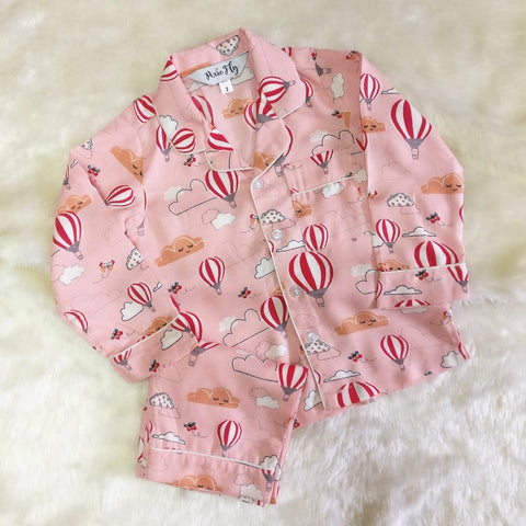 Adult Pyjama Set - Hot Air Balloon Pink, For Women