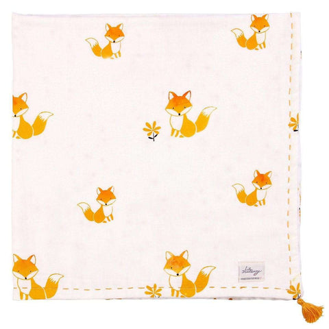 Fox in the Garden Thick Muslin Blanket