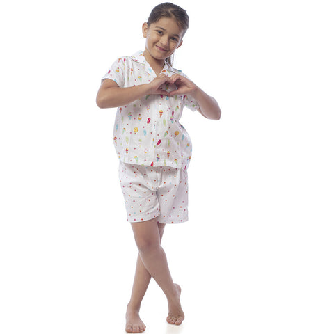 Kid's Pyjama Shirt & Shorts Set - Ice Cream