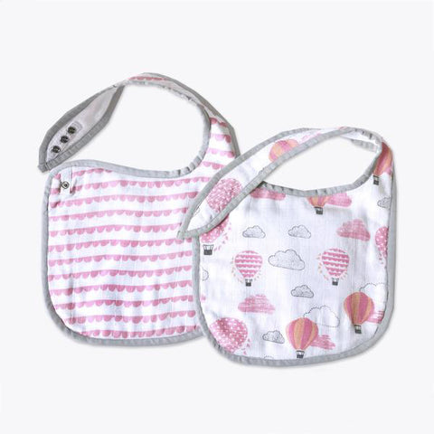Masilo Classic Organic Muslin Bibs - Up, Up & Away(Pink), Set of 2