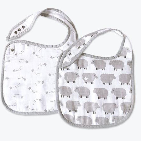Masilo Classic Organic Muslin Bibs - Counting Sheep, Set of 2