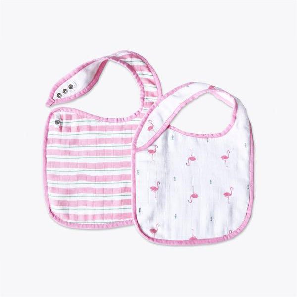 Classic Organic Muslin Bibs - Hello Flamingo, Set of 2
