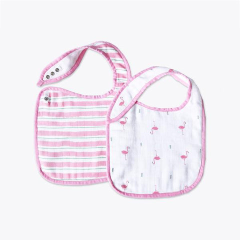 Masilo Classic Organic Muslin Bibs - Hello Flamingo, Set of 2