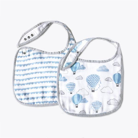 Masilo Classic Organic Muslin Bibs - Up, Up & Away(Blue), Set of 2