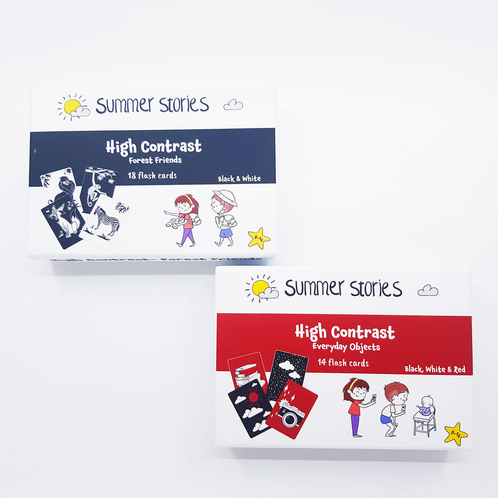 Summer Stories - Newborn Bundle (0-1yr) | 2 Sets of High Contrast Flash Cards | 32 Flash Cards