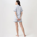 Jade Blockprint Shorts Set For Women (Indigo)
