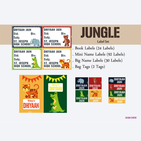 "Label Set <br/>Jungle Theme<br><span style=""font-size: 11px; font-family:Helvetica,Arial,sans-serif;"">Assorted pack containing 146 labels and 2 bag tags </span>"