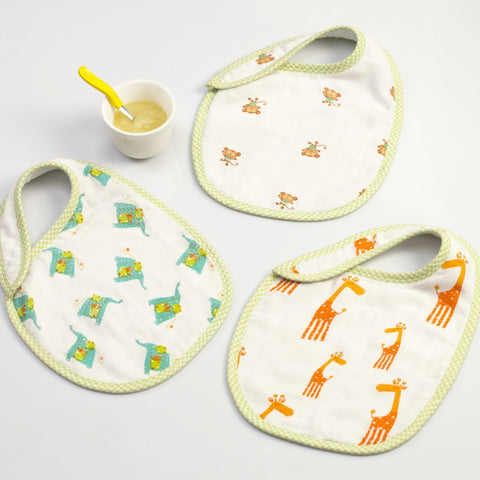 Jungle Jive Muslin Bibs, Set of 3