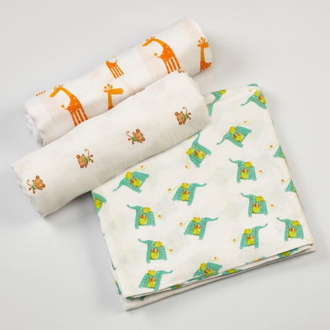 Jungle Jive Muslin Swaddle Cloths <br> Set of 3