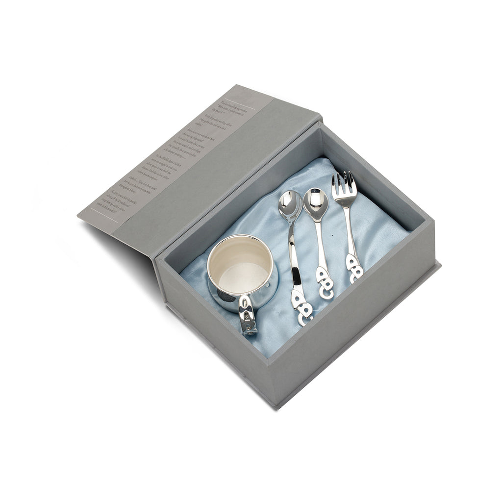 Sterling Silver Gift Set - With ABC Cup, ABC Spoon, ABC Spoon & Fork Set