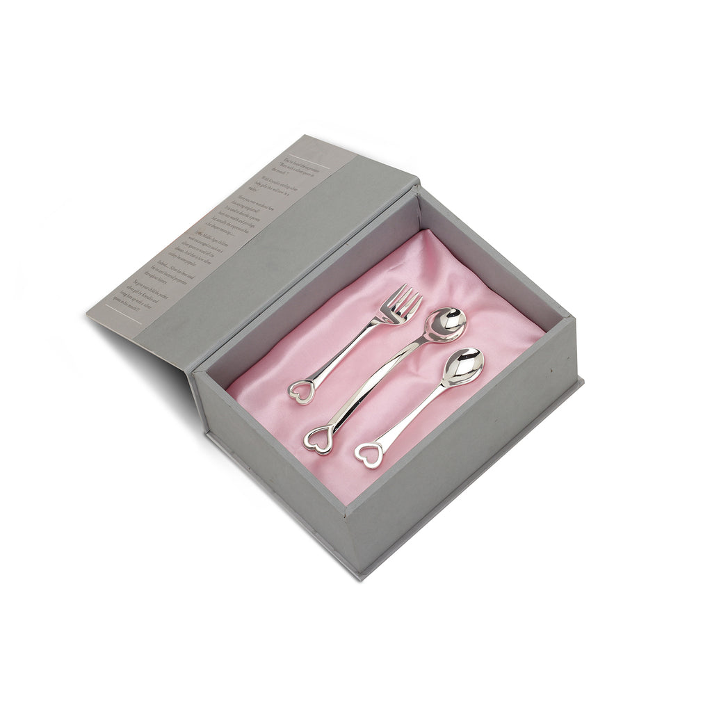 Sterling Silver Gift Set - With Heart Feeding Spoon, Heart Spoon & Fork Set