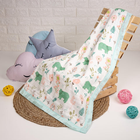 Baby Bear Quilted Muslin Blanket