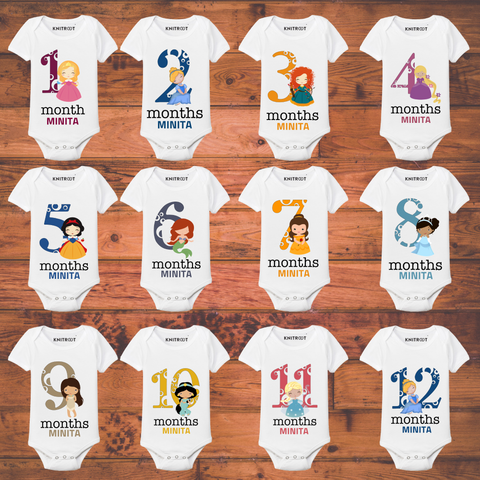 Princess Monthly Onesie Set of 12