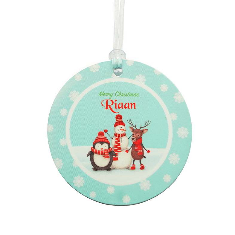 Luggage Tags - Merry Christmas, Blue (Round), Set of 2