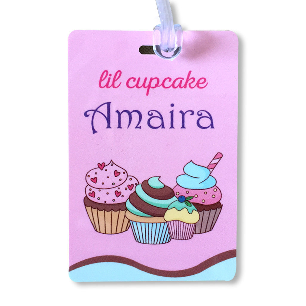 School Bag Tags- Cupcake Theme <br> Set of 2