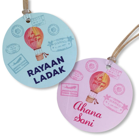 Luggage Tags - Hot Air Balloon (Round), Set of 2