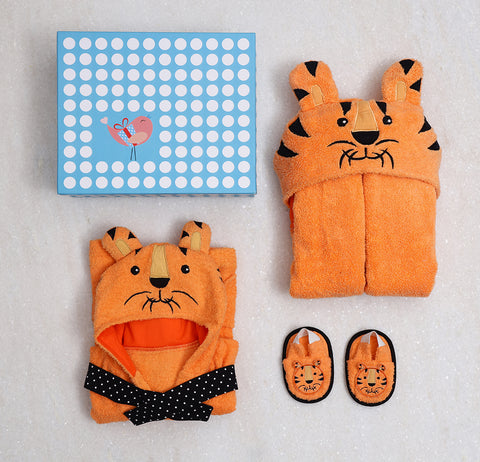 Spa Time New Born Gift Set (Tiger) With Hooded Towel Orange