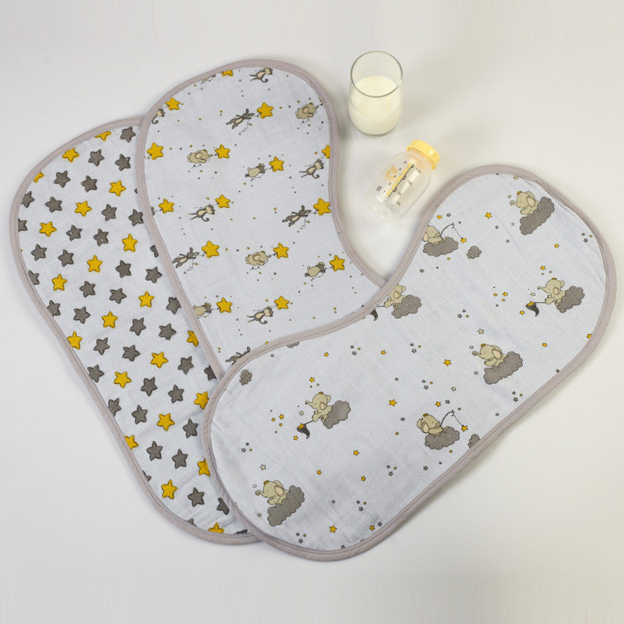 Starry Night Muslin Burp Cloths <br> Set of 3