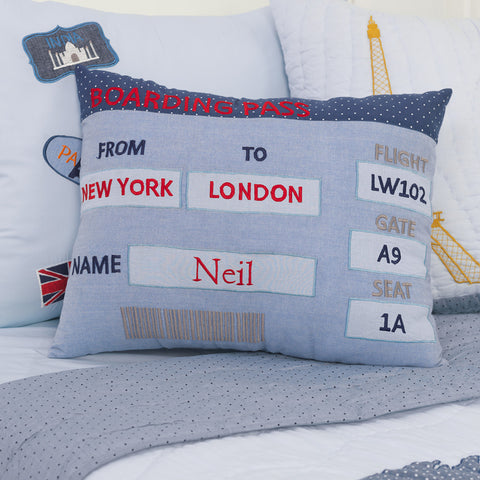 Personalised Boarding Pass Pillow - Boy