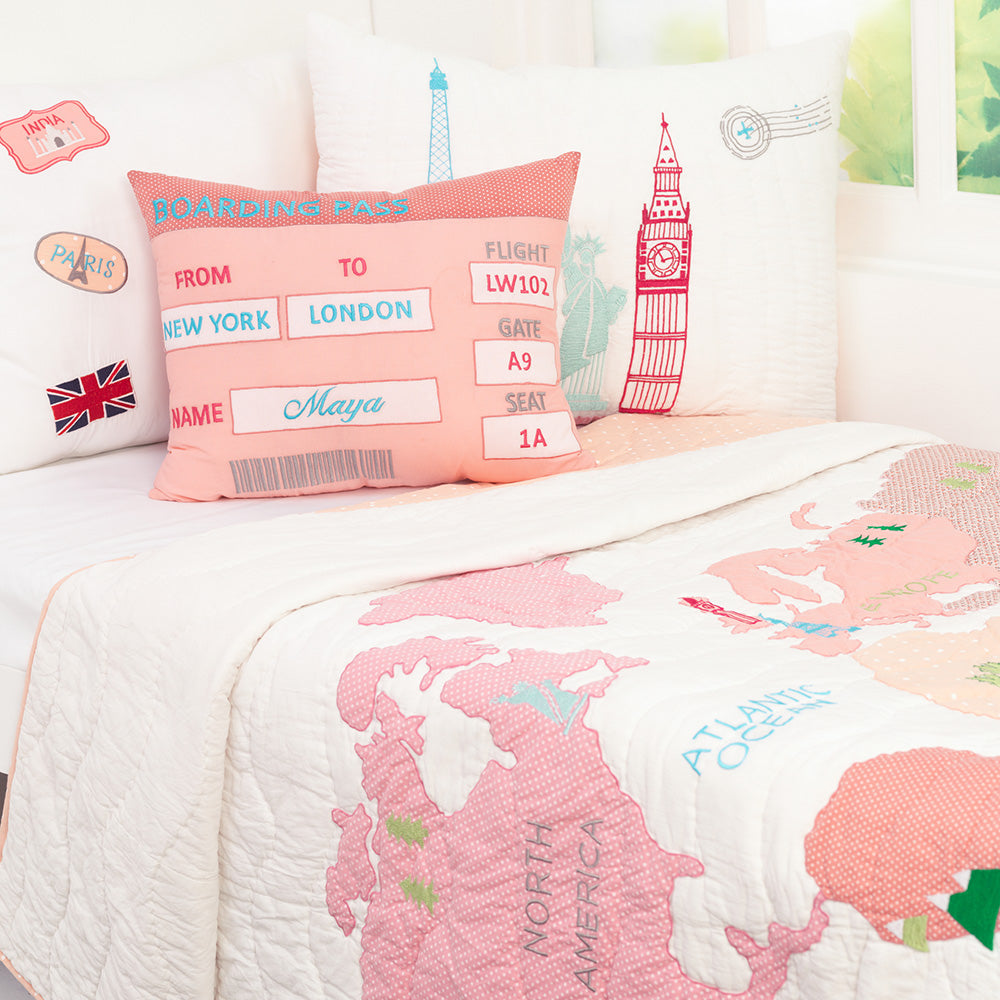 Around The World (Pink) Kids Bedding Set, Ages 3 to 15