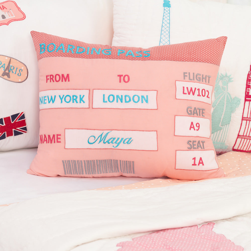 Personalised Boarding Pass Pillow - Girl