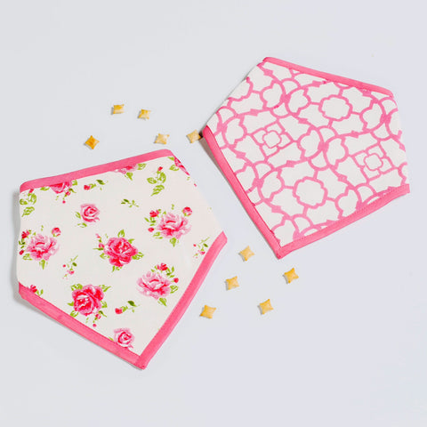 La Rose Bandana Bibs, Set of 2