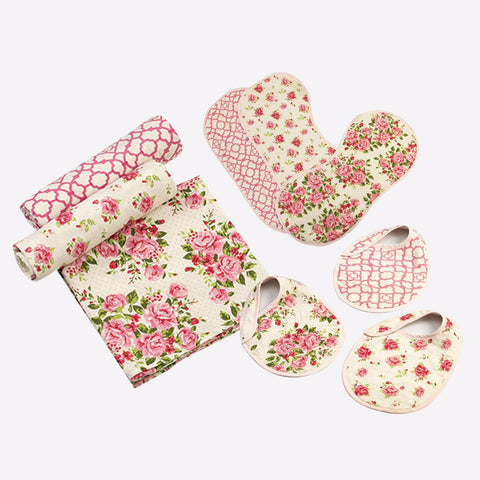 """New Beginnings"" Gift Set - La Rose, Set of Swaddles, Bibs & Burp Cloths"