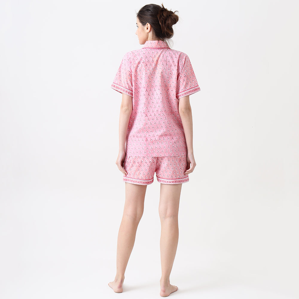 Lily Blockprint Shorts Set For Women (Watermelon Pink)