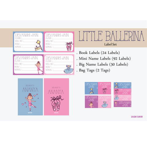 Label Set - Little Ballerina, 146 labels and 2 bag tags