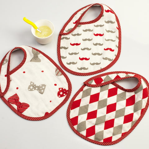 Little Man Muslin Bibs, Set of 3