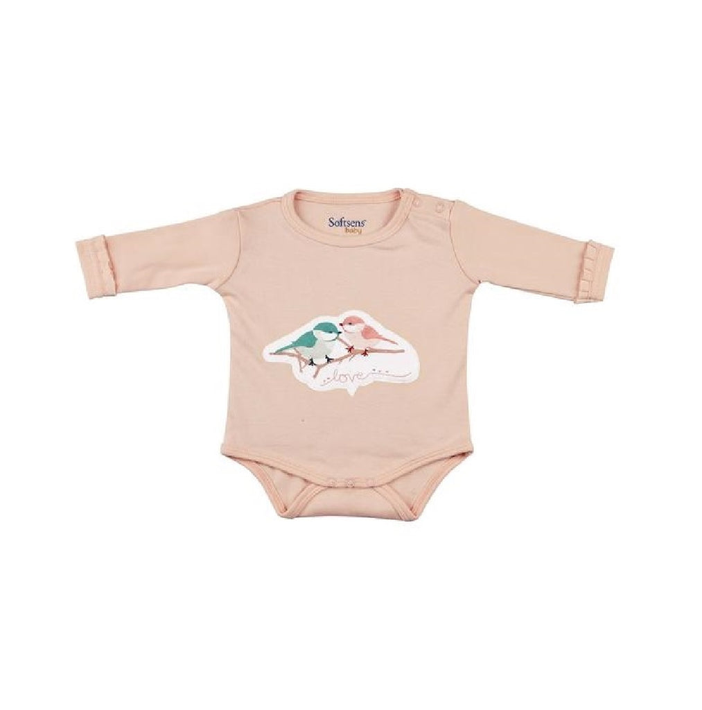 Organic Cotton Long Sleeve Soft Jersey Bodysuit - Love Birds