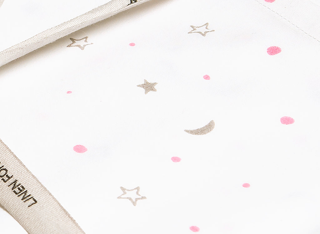 Masilo Organic Fitted Cot Sheet - Pink/Grey Star