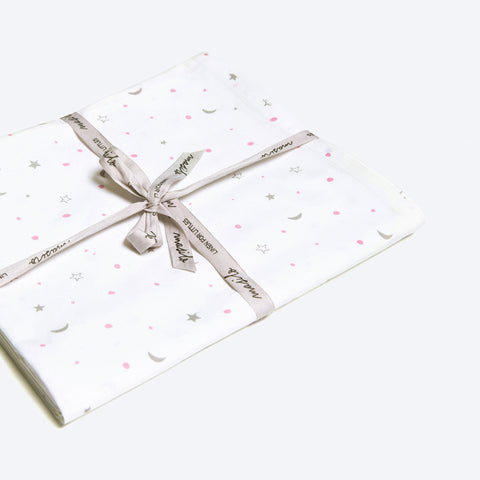Organic Fitted Cot Sheet <br> Pink/Grey Star