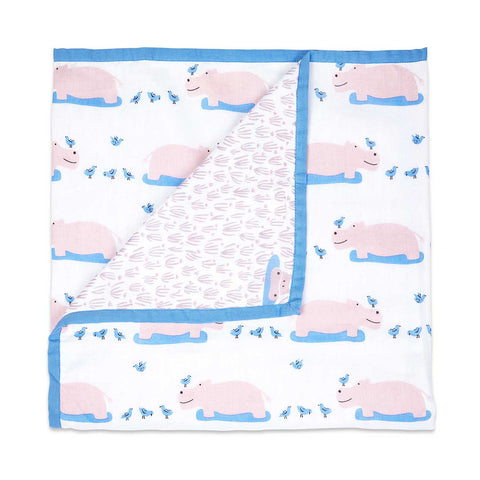 Masilo Mulmul Dohar Blanket - Happy As A Hippo