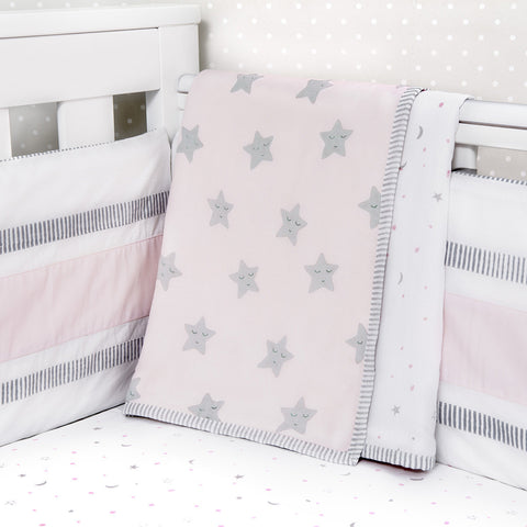 Organic Dohar Blanket - Pink Star - Can be Personalised