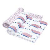 Organic Muslin Swaddles (Set of 2) -  Happy As A Hippo