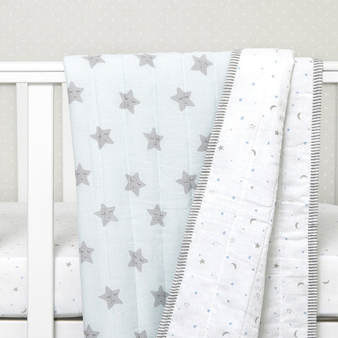 Organic Quilted Blanket - Blue Star - Can be Personalised