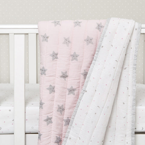 Organic Quilted Blanket - Pink Star - Can be Personalised